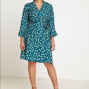 ELOQUII Green Floral Wrap Flutter Dress